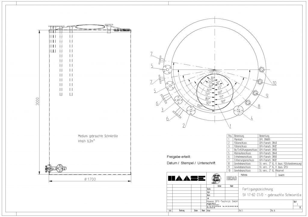 Technische Zeichnung eines Flachbodentanks