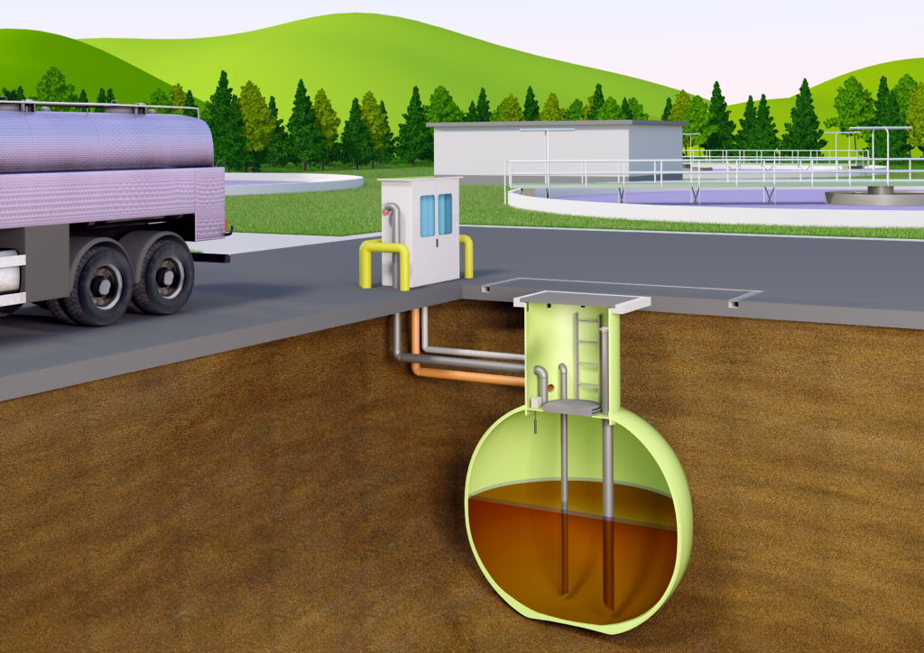 Unterirdischer Haase Kugeltank aus GFK zur sicheren Lagerung wassergefährdender Flüssigkeiten