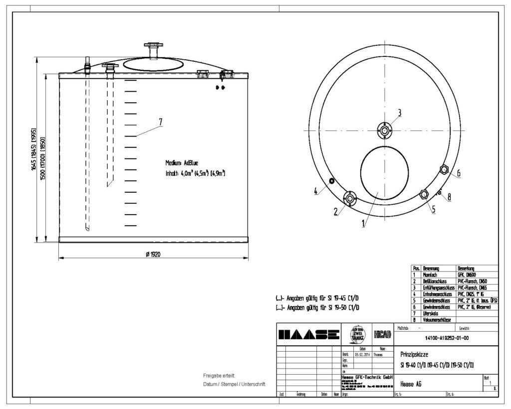 Technische Zeichnung eines Haase-Flachbodentanks für AdBlue.