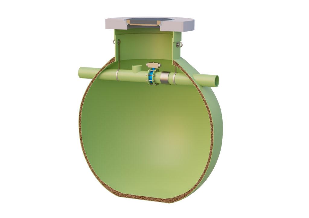 Das Sicherheitsauffangbecken von Haase besteht aus einem dreiwandigen, kugelförmigen Tank.