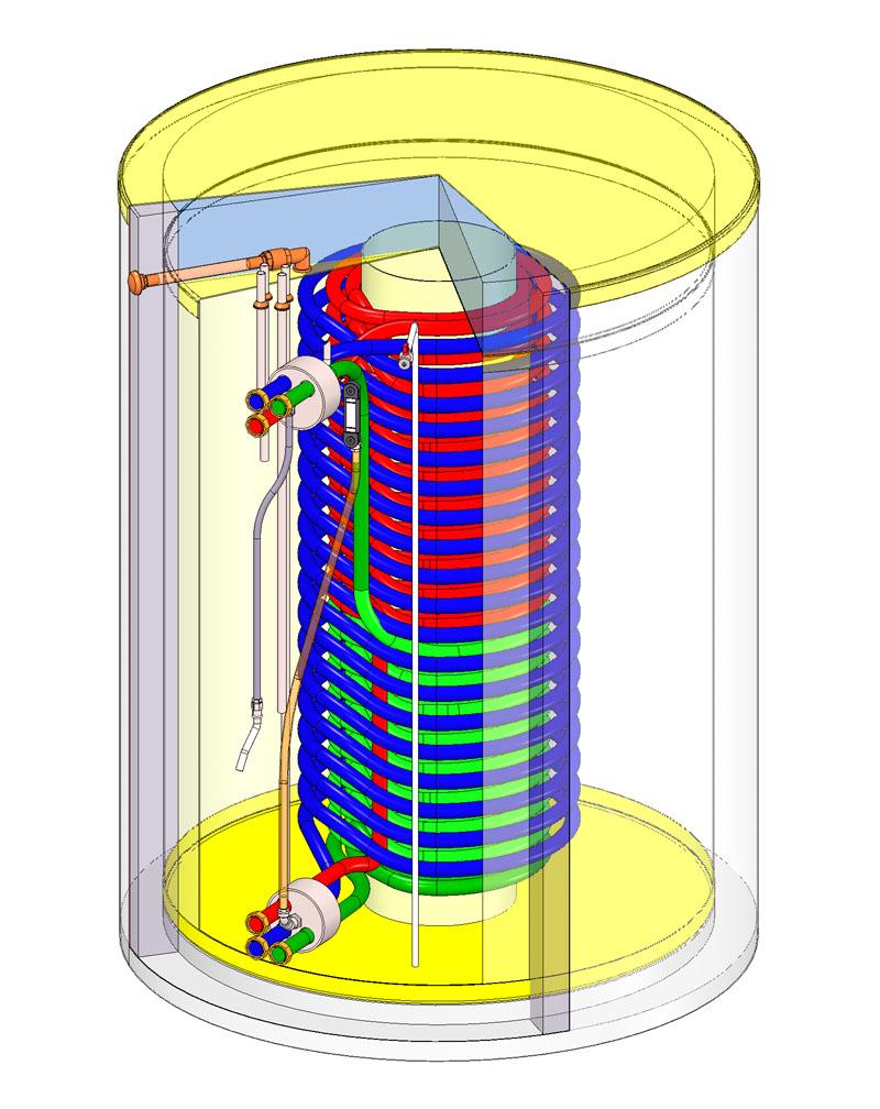 Eine Ausstattungsmöglichkeit beim Haase-Wärmespeicher ist das Edelstahlwellrohr.
