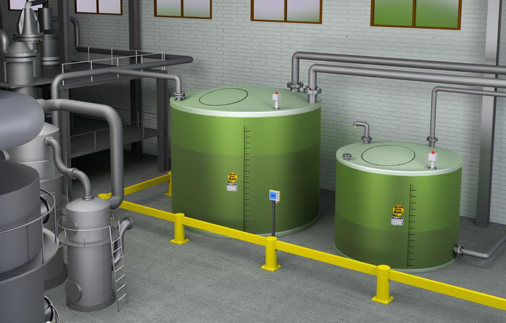 Der doppelwandige Flachbodentank von Haase ist für die sichere Lagerung von Chemikalien, Abwässern und anderen wassergefährdenden Flüssigkeiten geeignet.