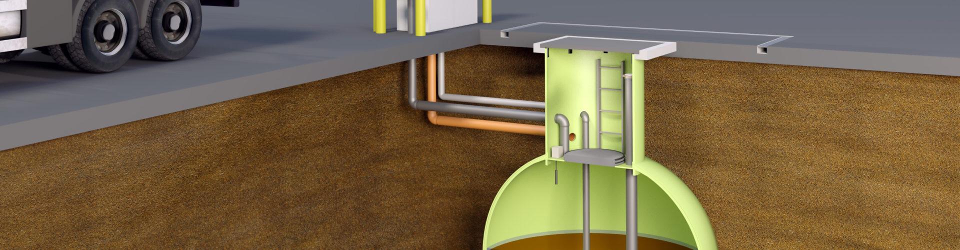 Unterirdischer Haase-Kugeltank aus GFK zur sicheren Lagerung wassergefährdender Flüssigkeiten