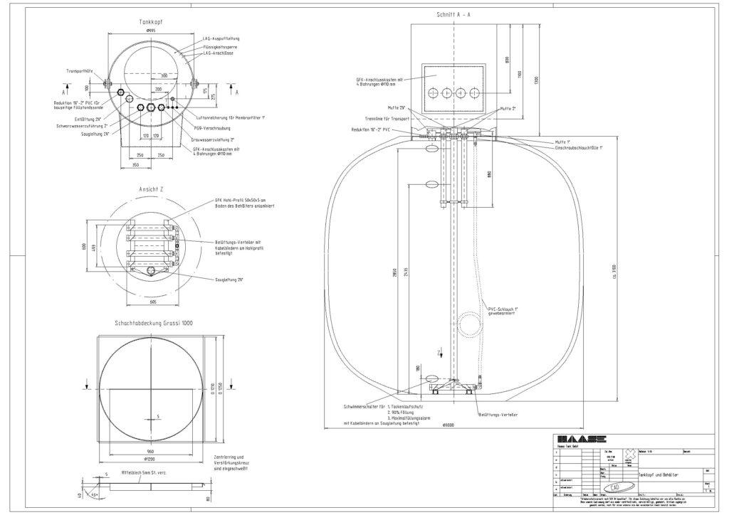Technische Zeichnung eines Lagerbehälter vom Bauvorhaben in Bad Berka