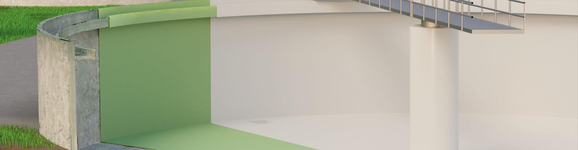 Grafische Darstellung einer Auskleidung mit GFK Laminat von Haase