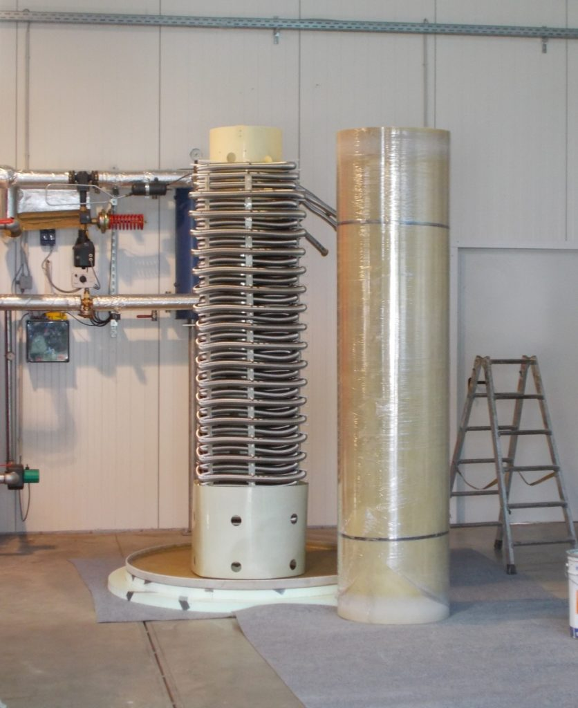 Fertig montiert hat der Speicher eine Höhe von 2,80 und einen Durchmesser von 1,70m.
