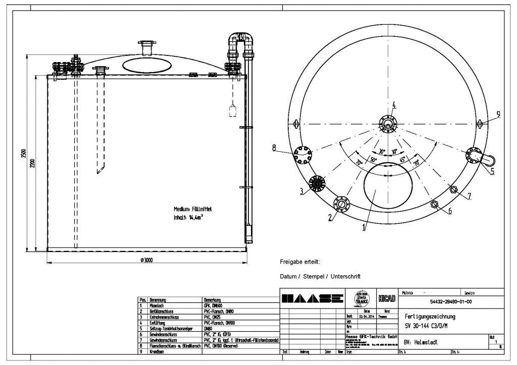 Technische Zeichnung des Abwassertanks