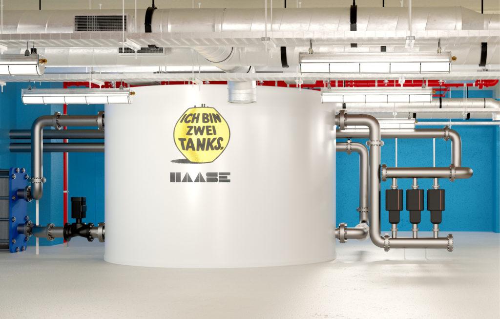 Wärmespeicher von Haase in einem Industriegebäude