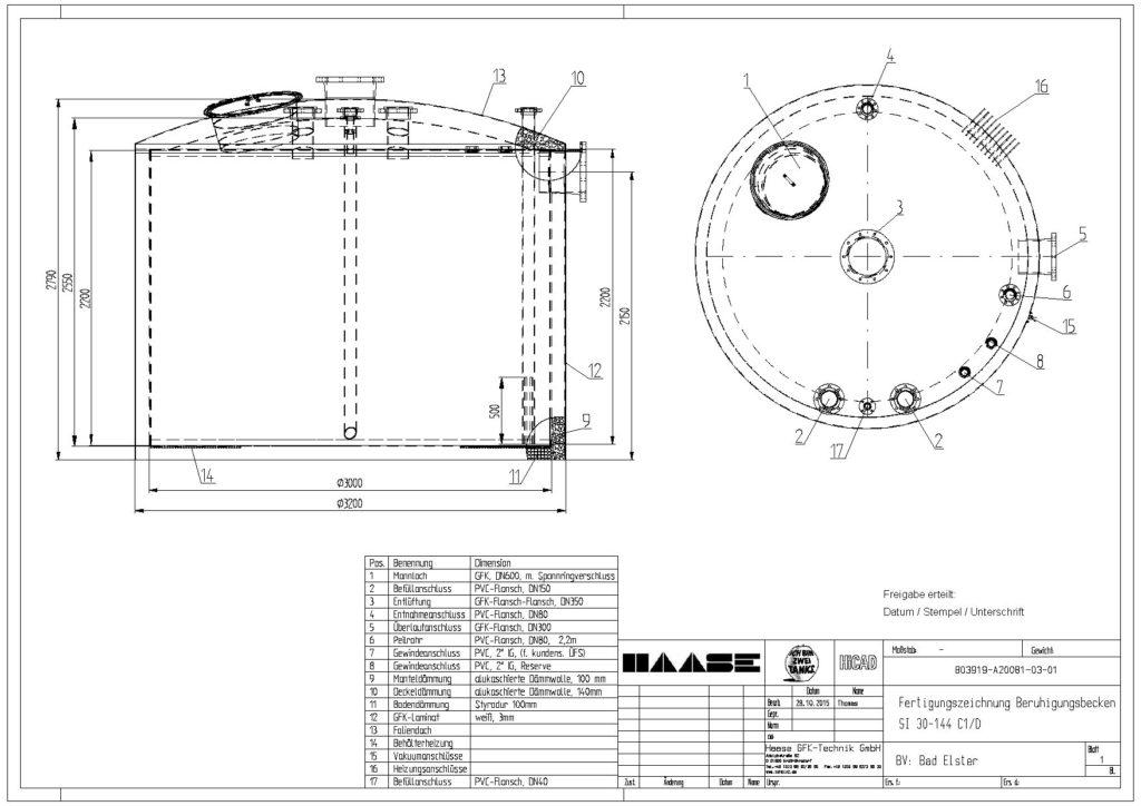 Technische Zeichnung zum Beruhigungsbecken