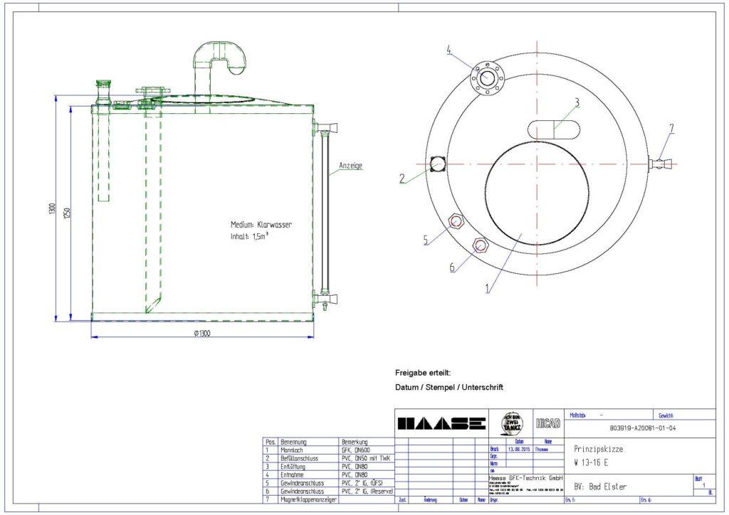 Technische Zeichnung zum Kaltwassertank