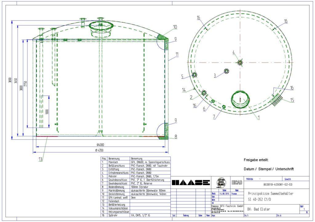 Technische Zeichnung zum Sammelbecken
