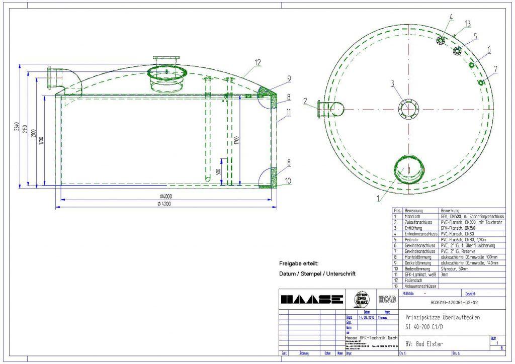 Technische Zeichnung zum Überlaufbecken