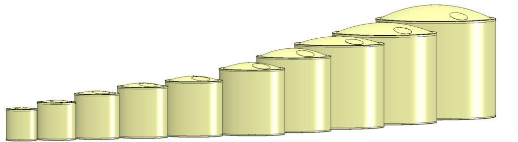 Unsere Größen der Flachbodentanks