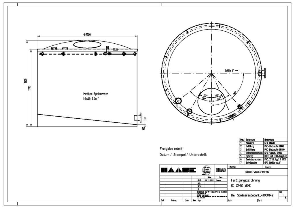 Technische Zeichnung eines Speiserestetanks