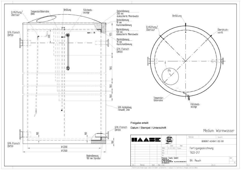 Technische Zeichnung des Warmwasserspeicher