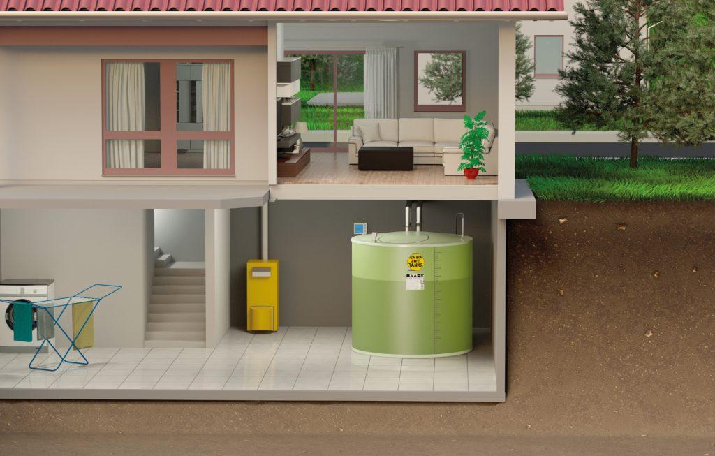 Grafische Darstellung des fertig montieren Kellertanks von Haase