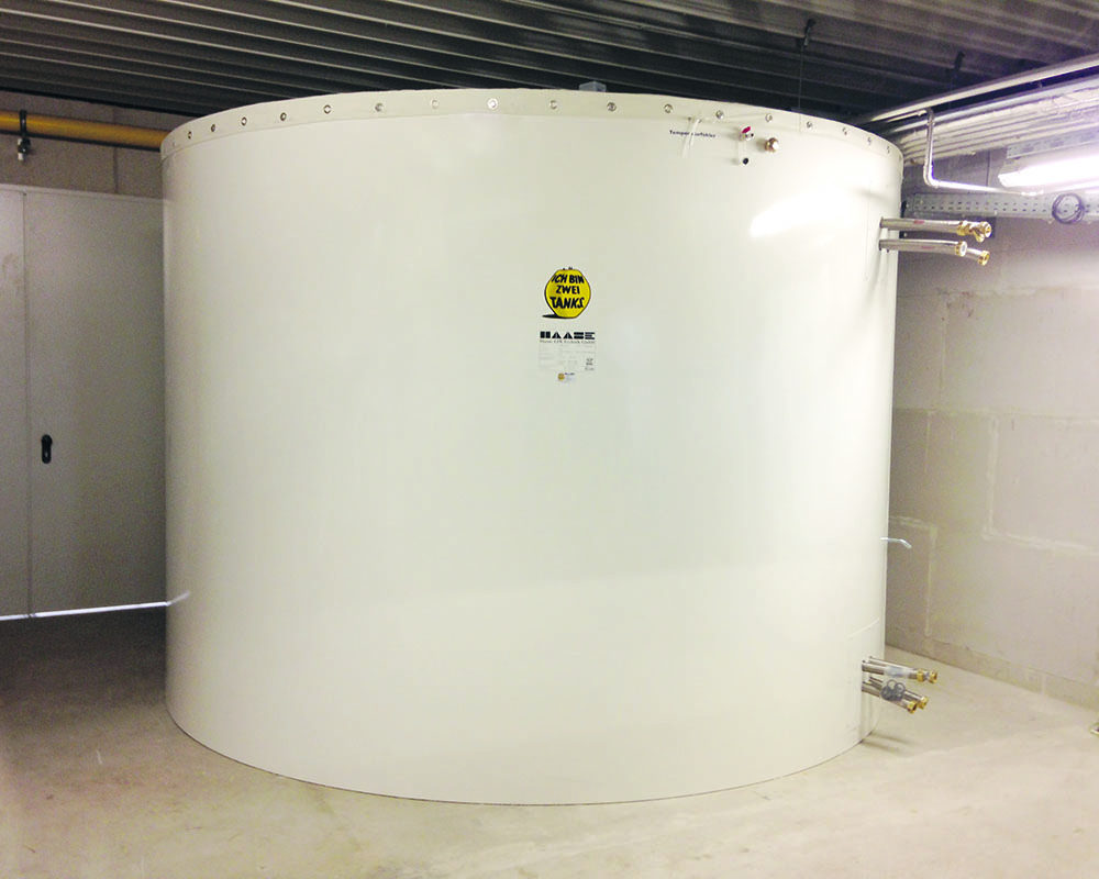 This buffer hot water tank stores the heat for a bakery and has a volume of 15,000 liters.
