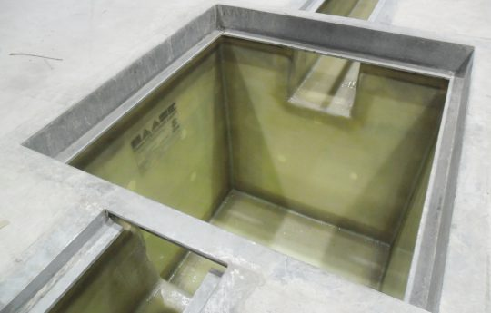 Gutters and pump sumps are lined with GRP.