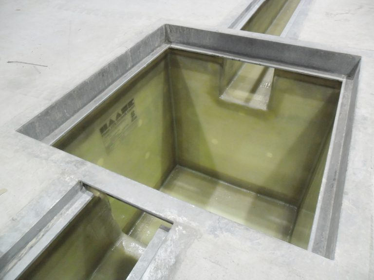 Gutters and pump sumps are lined with GRP