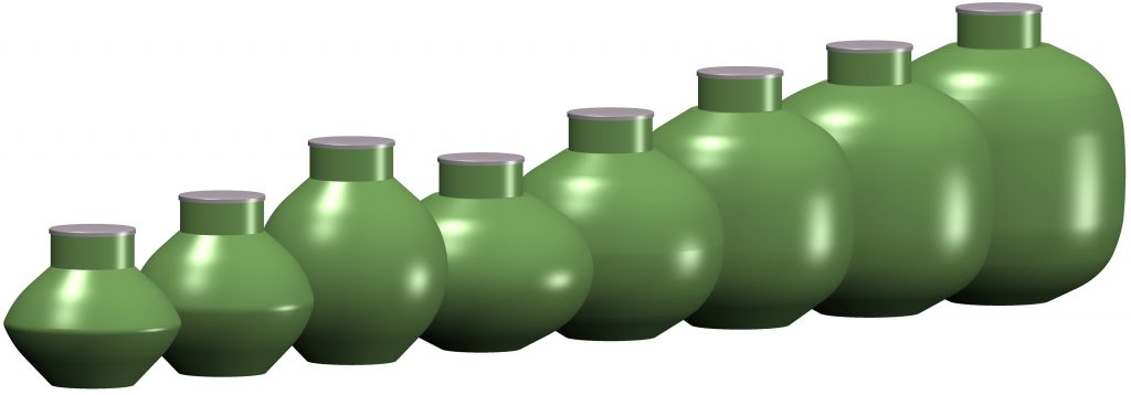 The different sizes of the Haase spherical tank.