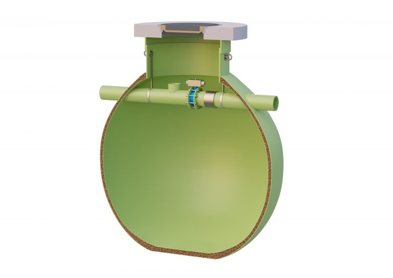 The Haase safety collecting tank consists of a three-walled, spherical tank.