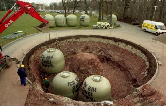 These underground spherical tanks were installed for the storage of radioactive waste water.