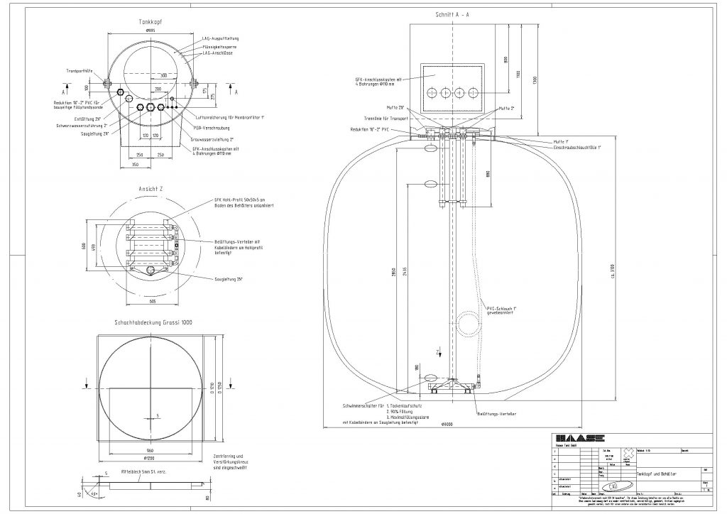 Technical drawing of a underground spherical storage container from the construction project in Bad Berka.