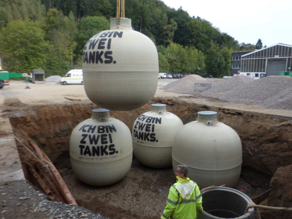 The underground tanks each have a volume of 15,000 liters.