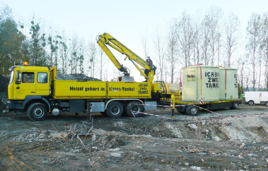 The two underground hot water tanks were delivered and stored directly by Haase.