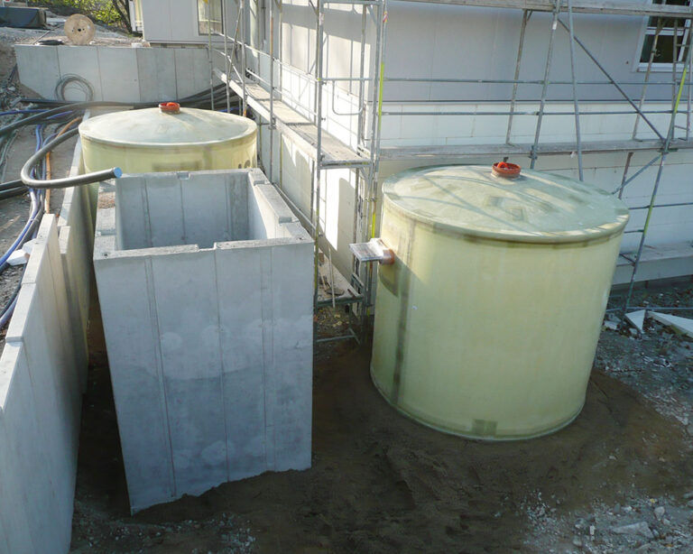 The underground hot water tanks are insulated with PU foam and a waterproof cover made of GRP.