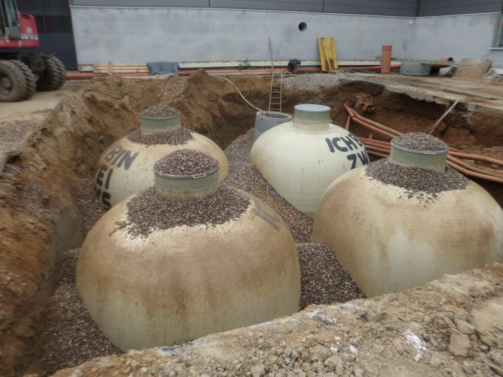 Now the Haase underground tanks can be filled and poured over with the concrete for the buoyancy protection.