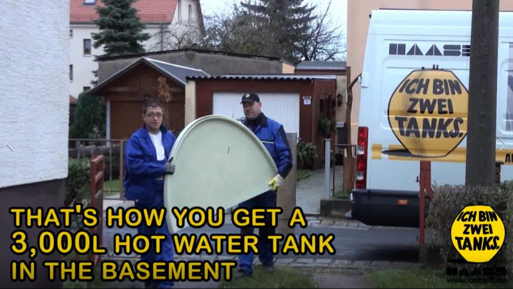 This is how you bring a Haase hot water tank to the basement