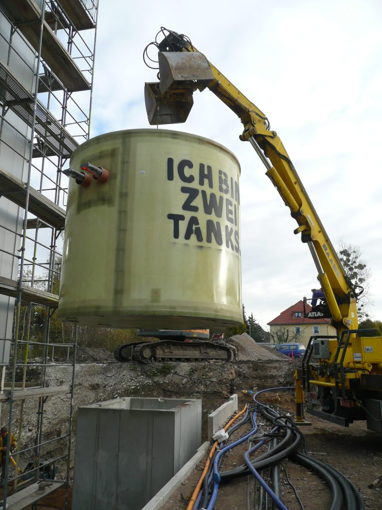 The T330-143 undeground hot water tanks each have a volume of 14.3m³.