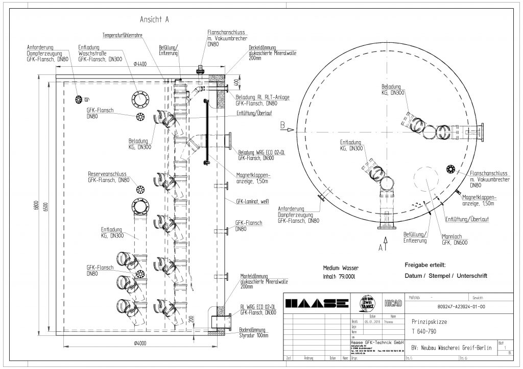Technical drawing of the hot water tankr for a hotel laundry business in Berlin.
