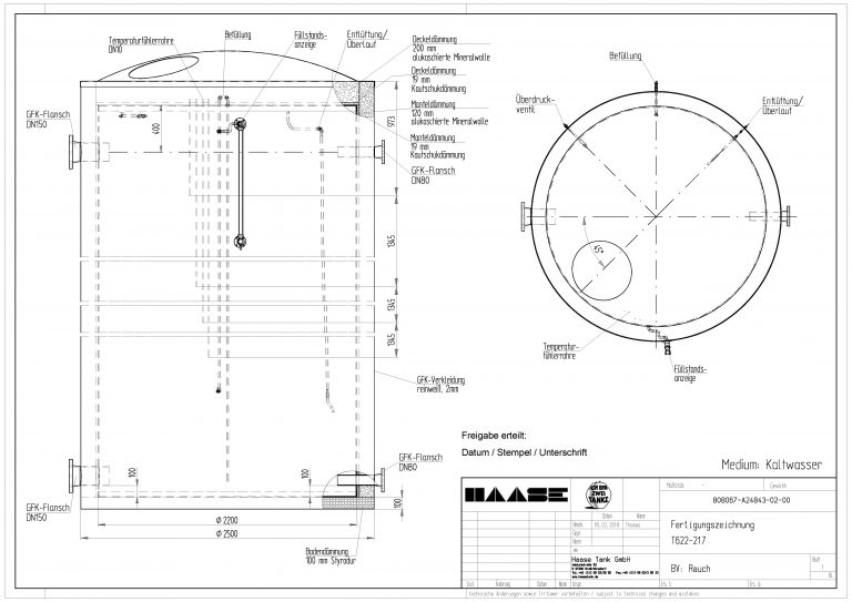 Technical drawing of the cold water tank.