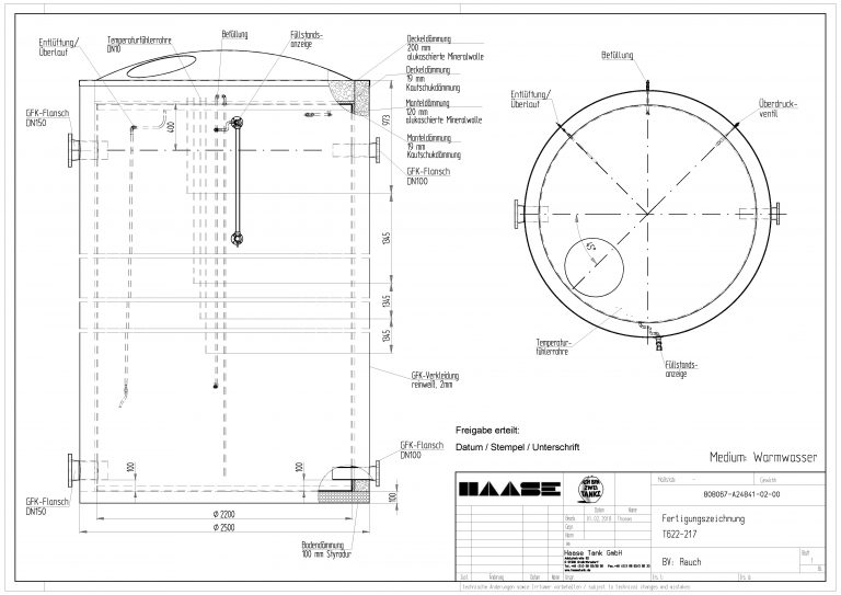 Technical drawing of the hot water tank.