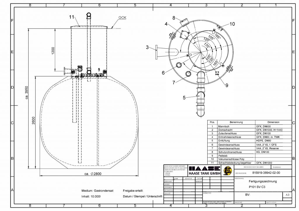 Technical drawing of the underground storage tank for condensat from CHP.