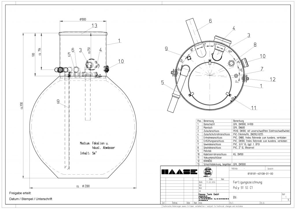 Technical drawing of the underground storage tank for fecal matter and domestic waste water.