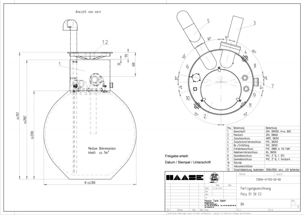 Technical drawing of the underground storage tank for drill emulsion.
